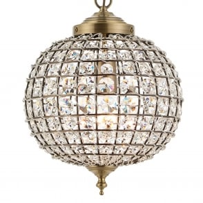 Tanaro 1 Light Clear Glass Bead Pendant in Antique Brass