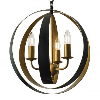 Toro 3 Light Aged Gold and Matt Black Globe Pendant Light
