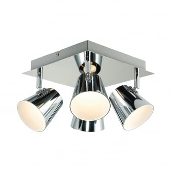 Torsion Four Light Square LED Ceiling Spotlights in Chrome