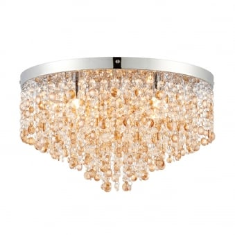 Vanessa 5 Light Clear and Amber Crystal Glass Flush Ceiling Fitting