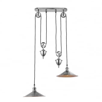 Victoria Rise and Fall 2 Light Pendant in Antique Silver