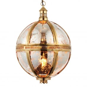 Vienna Large Solid Brass and Mercury Glass Globe Pendant Light