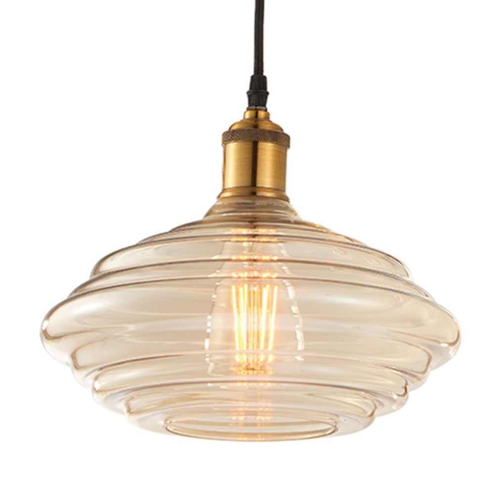 Endon 61356 walker tinted cognac glass and antique brass pendant light walker tinted cognac glass and antique brass pendant light aloadofball Choice Image