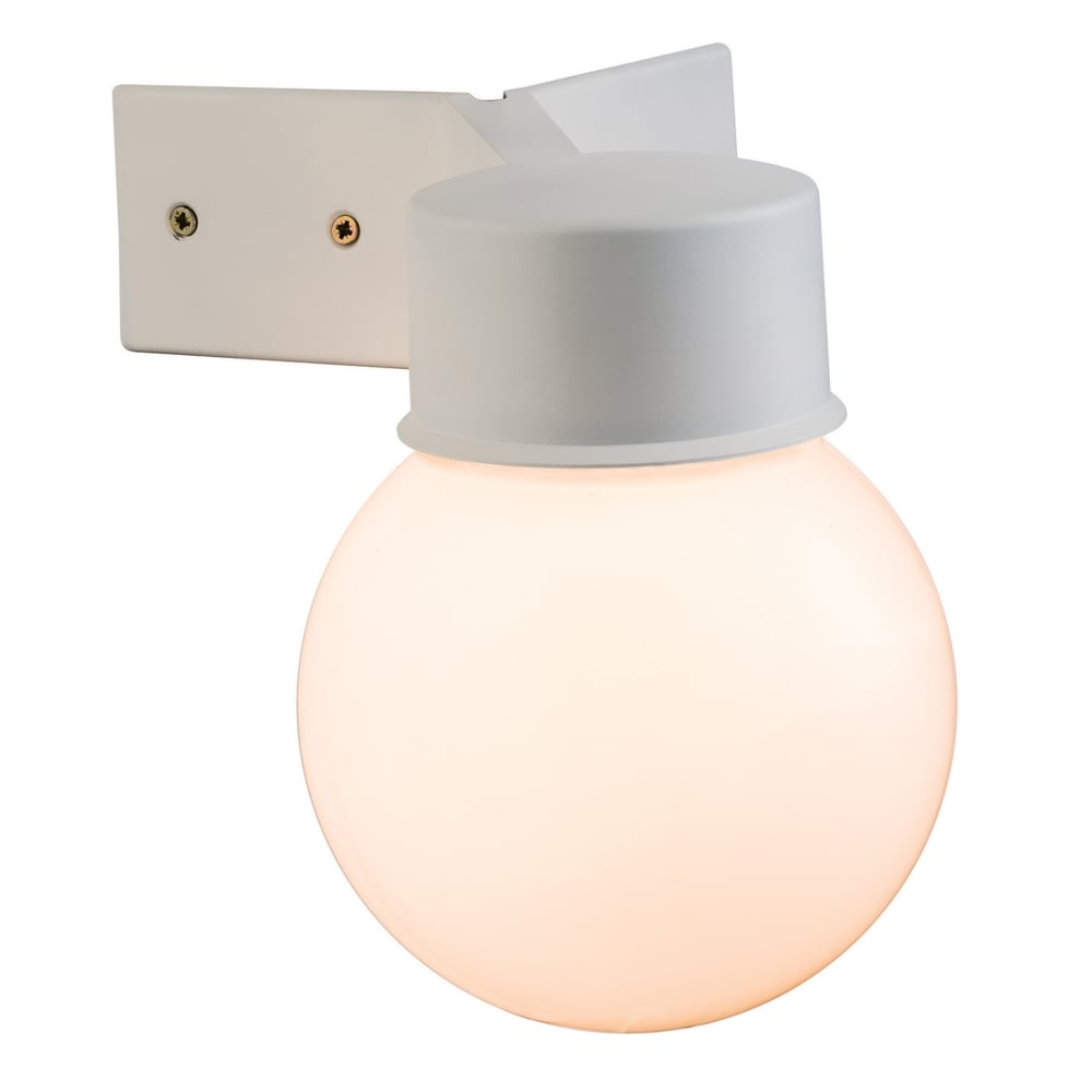 Ware Outdoor Globe Corner Mounted Wall Light In White