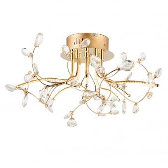 Willa 5 Light Gold and Crystal Semi Flush LED Ceiling Light