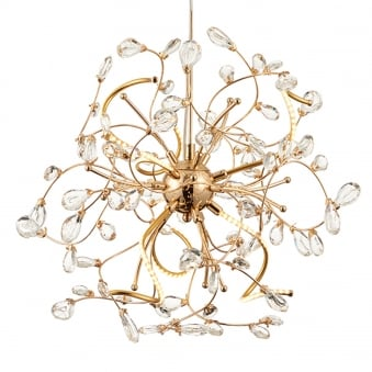 Willa 6 Light Gold and Crystal LED Pendant Light