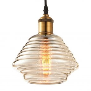 Williams Tinted Cognac Glass and Antique Brass Pendant Light