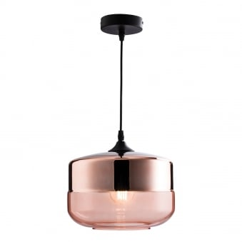 Willis Tinted Cognac and Copper Glass Pendant Light