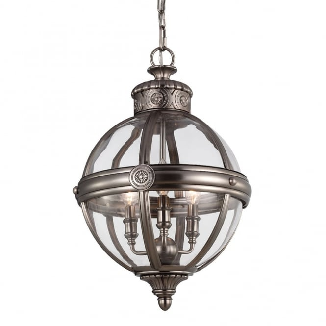 Feiss Adams 3 Light Pendant in Antique Nickel