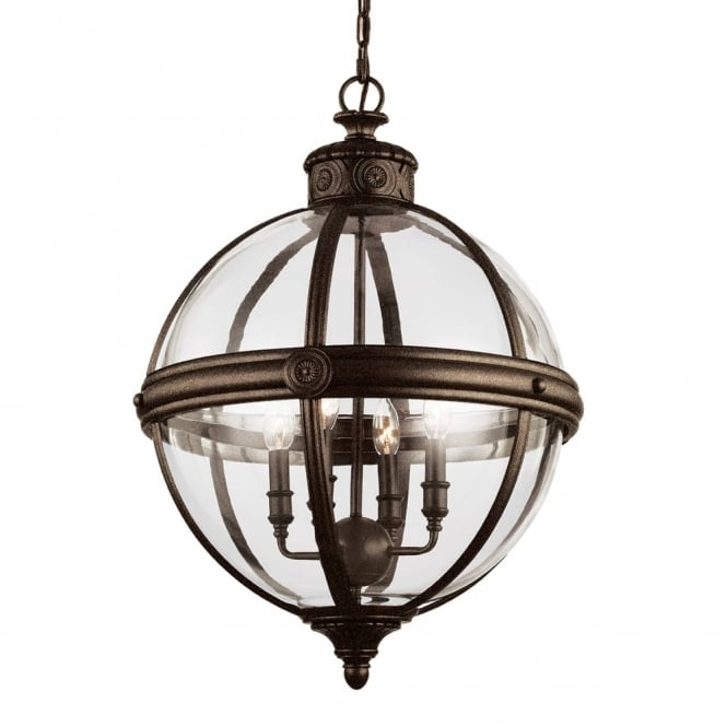 Feiss Adams 4 Light Pendant in British Bronze