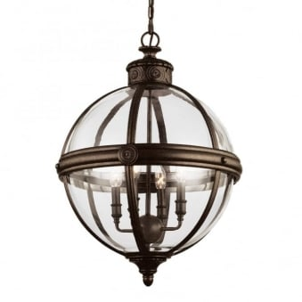 Adams 4 Light Pendant in British Bronze