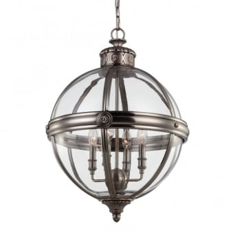 Adams 4 Light Pendant in Vintage Nickel