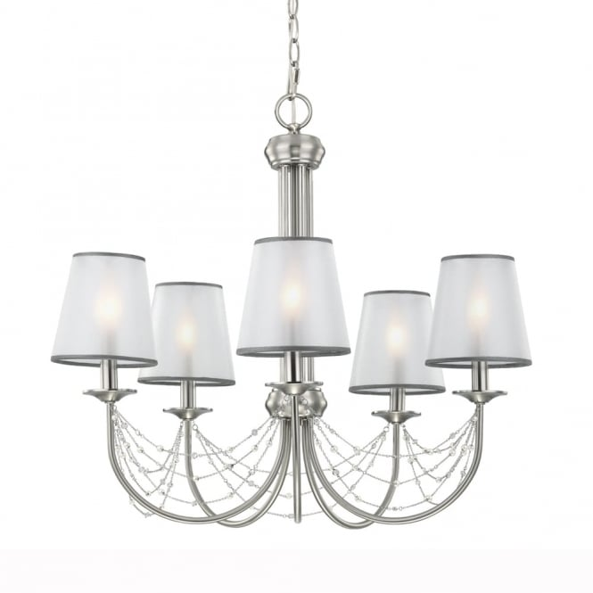 Feiss Aveline Five Light Chandelier in Brushed Steel