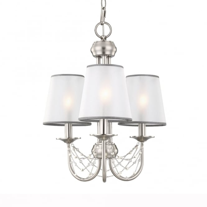 Feiss Aveline Three Light Chandelier in Brushed Steel