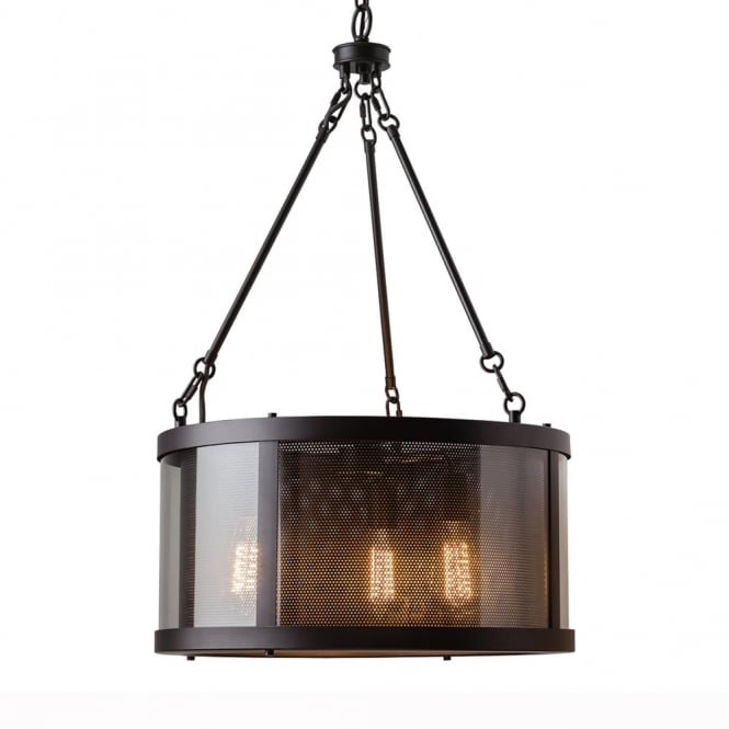 Feiss Bluffton Three Light Pendant in Oiled Rubbed Bronze