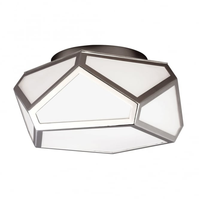 Feiss Diamond Flush Mount Ceiling Light in Polished Nickel