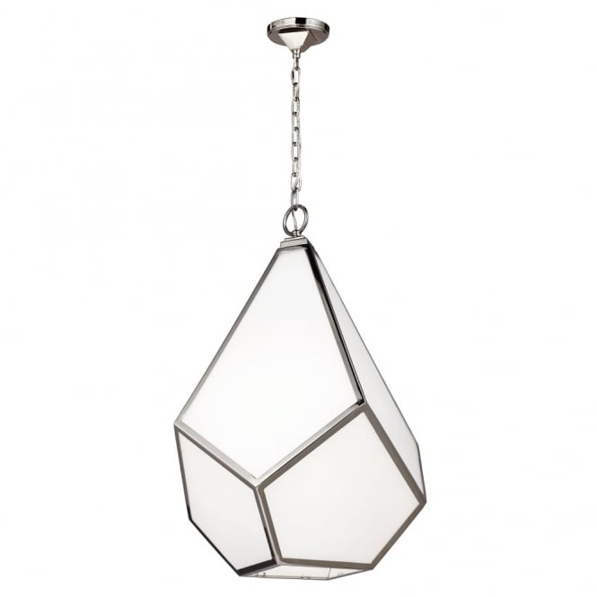 Feiss Diamond Large Pendant Chandelier with Opal Glass