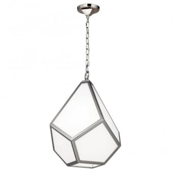 Diamond Medium Pendant Light in Polished Nickel