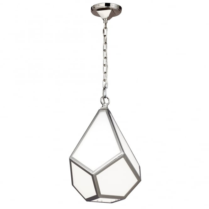 Feiss Diamond Small Pendant in Polished Nickel and Opal Glass