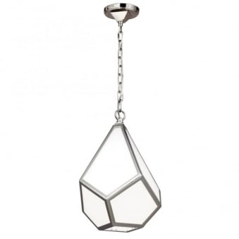 Diamond Small Pendant in Polished Nickel and Opal Glass