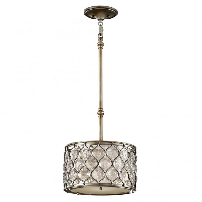 Feiss Elstead Lucia Small Crystal Pendant Light in Burnished Silver
