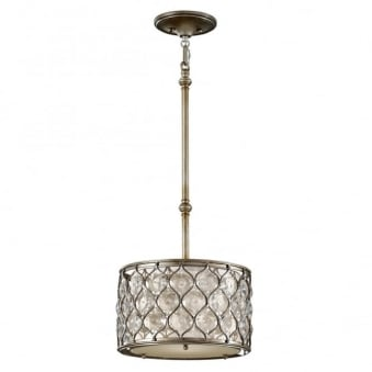 Elstead Lucia Small Crystal Pendant Light in Burnished Silver