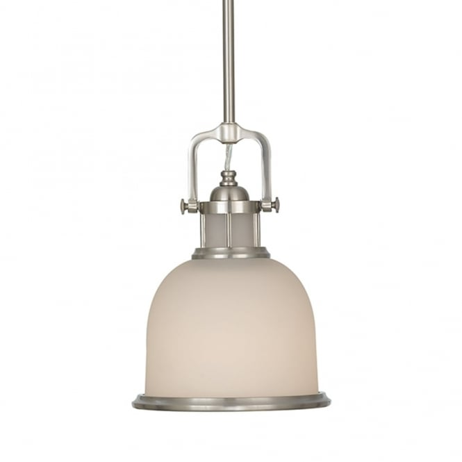 Feiss Elstead Parker Place Mini Brushed Steel and Pearl Glass Pendant