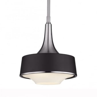 Holloway Mini Pendant in Brushed Steel/Textured Black