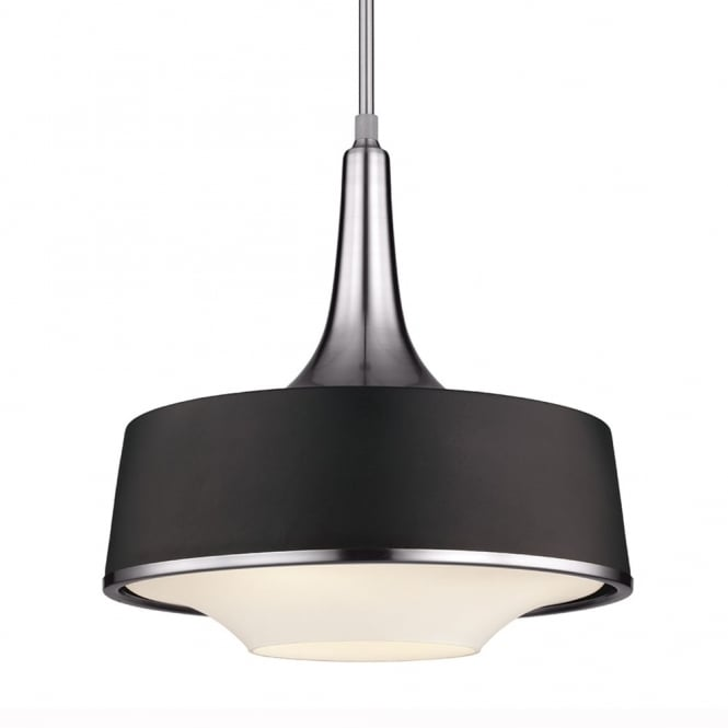 Feiss Holloway Pendant Light in Brushed Steel/Textured Black