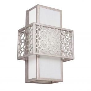 Kenney 1 Light Wall Light in Sunrise Silver and White Linen