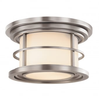 Lighthouse Outdoor Flush Ceiling Light in Brushed Steel