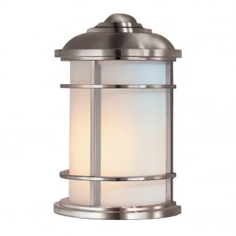 Lighthouse Outdoor Half Wall Lantern in Brushed Steel