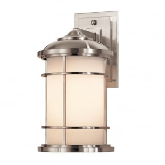 Lighthouse Outdoor Medium Wall Lantern in Brushed Steel