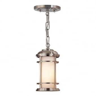 Lighthouse Outdoor Small Chain Lantern in Brushed Steel