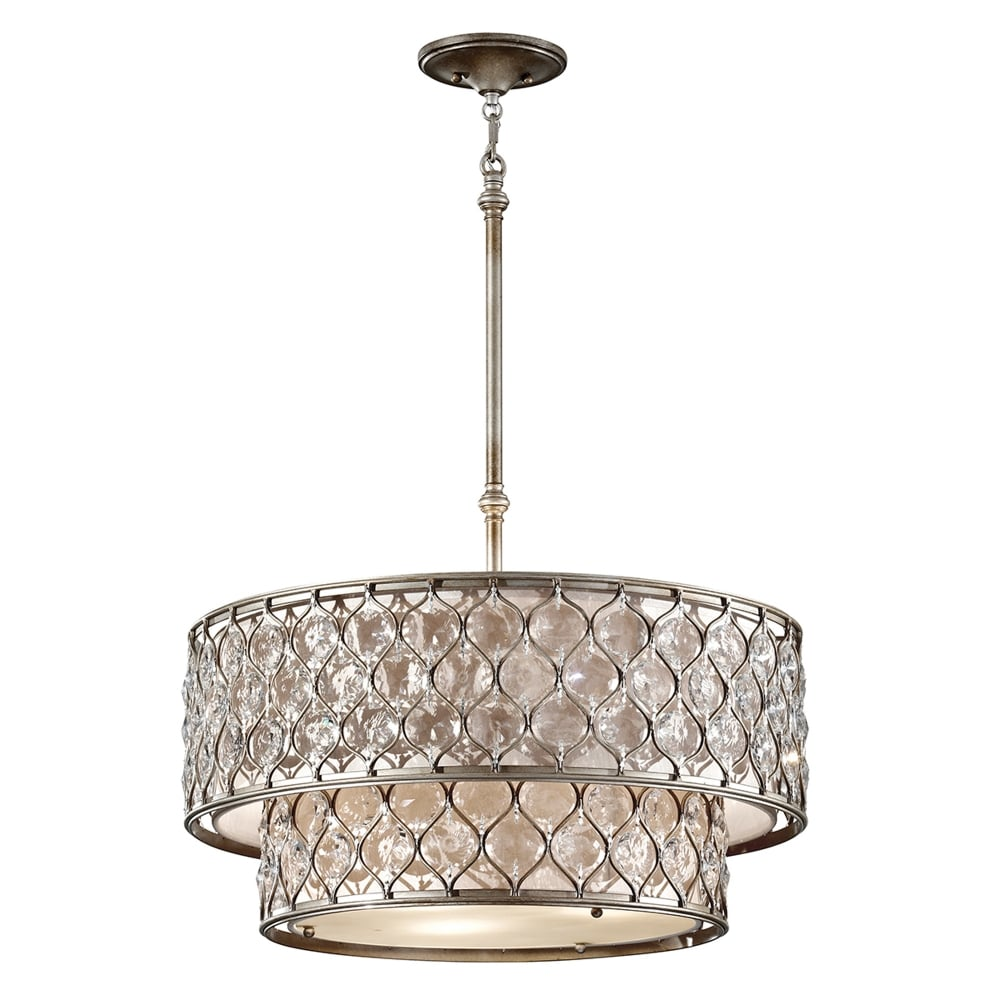Feiss lucia crystal two tier chandelier in burnished silver lucia crystal two tier chandelier in burnished silver mozeypictures Images