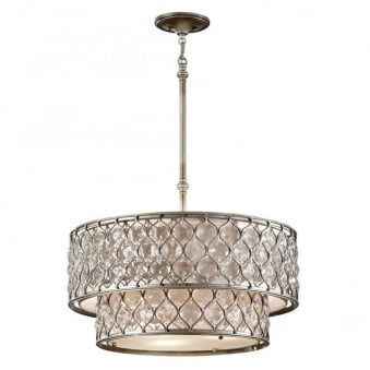 Lucia Crystal Two Tier Chandelier in Burnished Silver