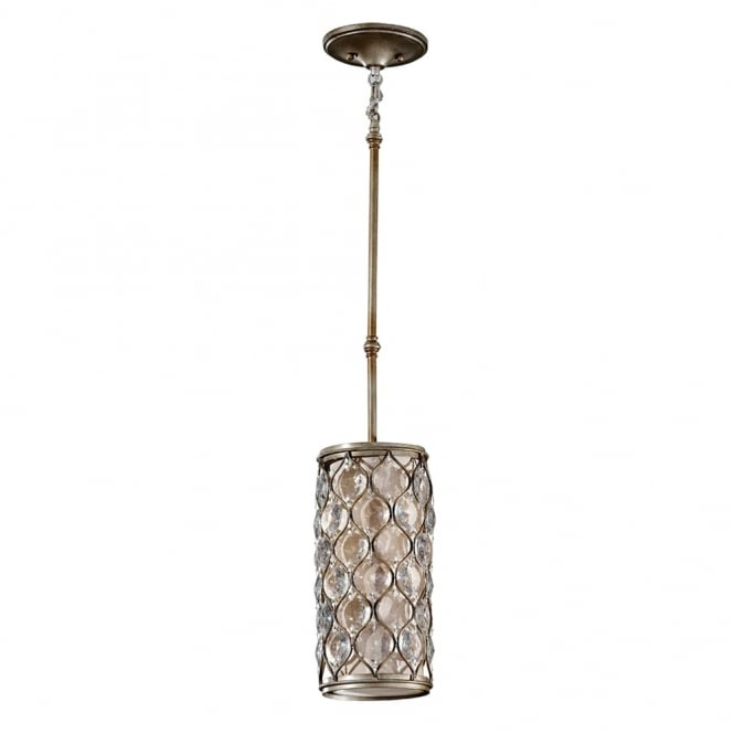 Feiss Lucia Mini Crystal Pendant Light in Burnished Silver