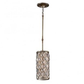 Lucia Mini Crystal Pendant Light in Burnished Silver