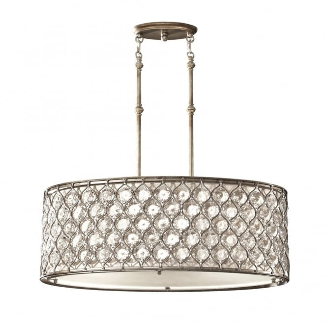 Feiss Lucia Oval Crystal Pendant Light in Burnished Silver