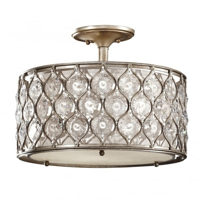 Feiss Lucia Semi Flush Crystal Ceiling Light in Burnished Silver