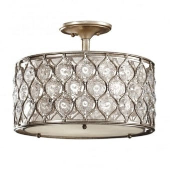Lucia Semi Flush Crystal Ceiling Light in Burnished Silver