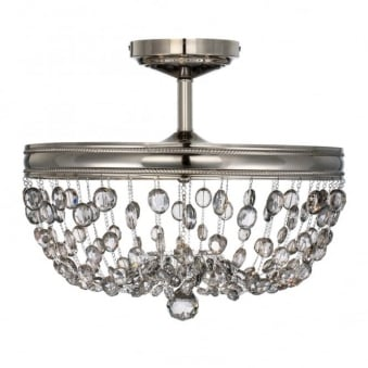 Malia Semi Flush Ceiling Light in Polished Nickel