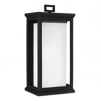 Roscoe Large Coastal Outdoor Wall Lantern in Textured Black
