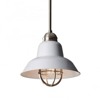 Urban Renewal Mini Brushed Steel Pendant in Gloss White