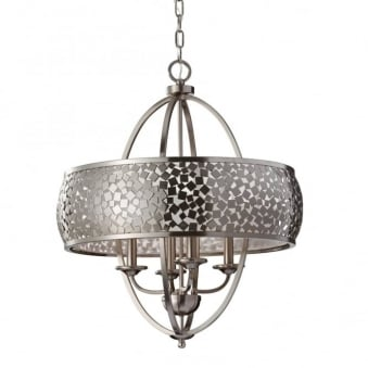 Zara 4 Light Chandelier In Brushed Steel