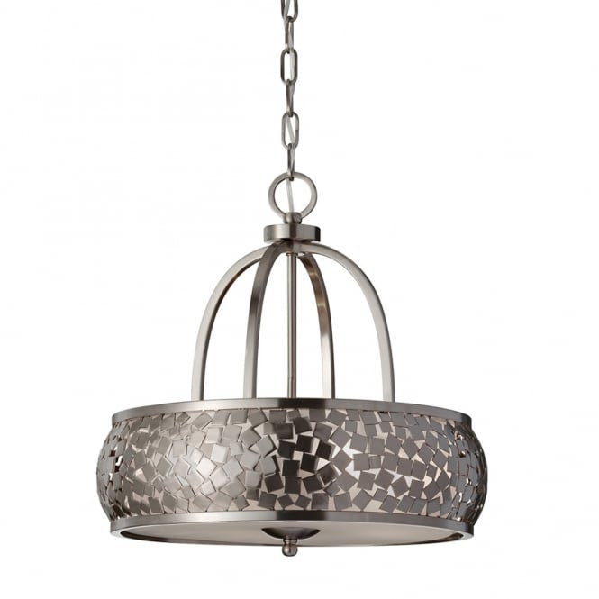 Feiss Zara 4 Light Chandelier with Diffuser in Brushed Steel