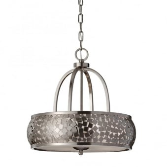 Zara 4 Light Chandelier with Diffuser in Brushed Steel