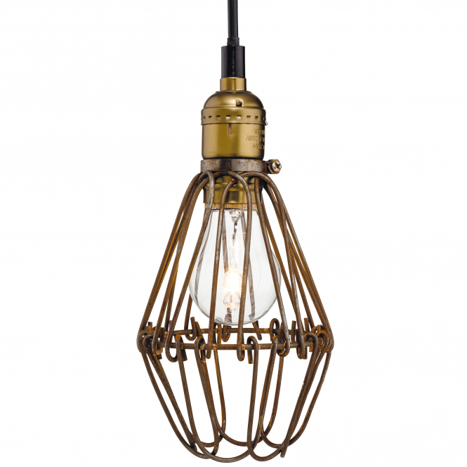 Firstlight Arcade Cage Pendant in Brass and Rust Brown