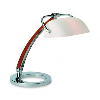 Bankers Table Lamp in Chrome with Wood Finish and Opal Glass Shade