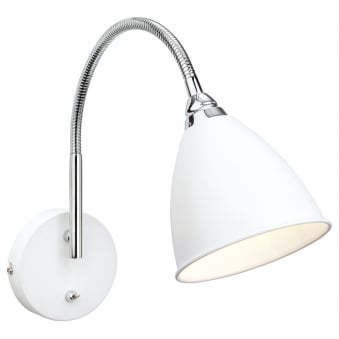 Bari Switched Wall Light Finished in White with Chrome